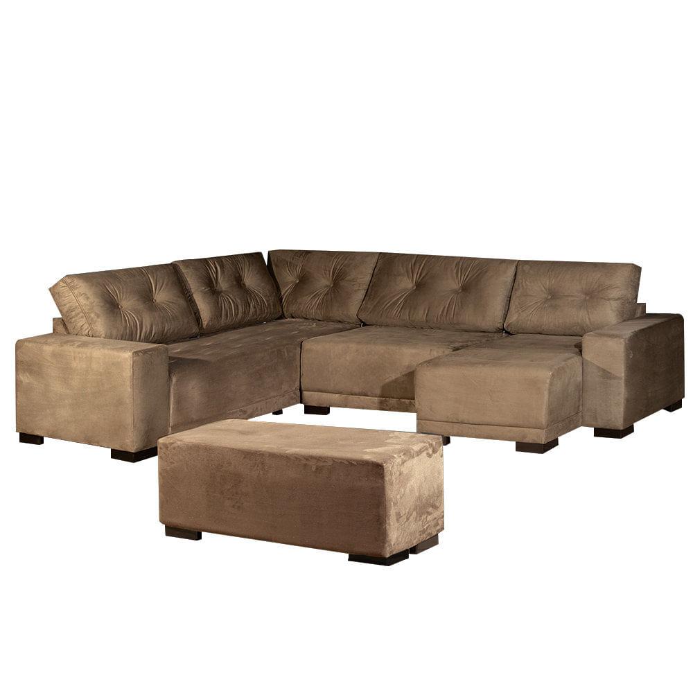 Sof de canto com chaise e puff ilhe s cor 118 for Sofas com chaise e puff