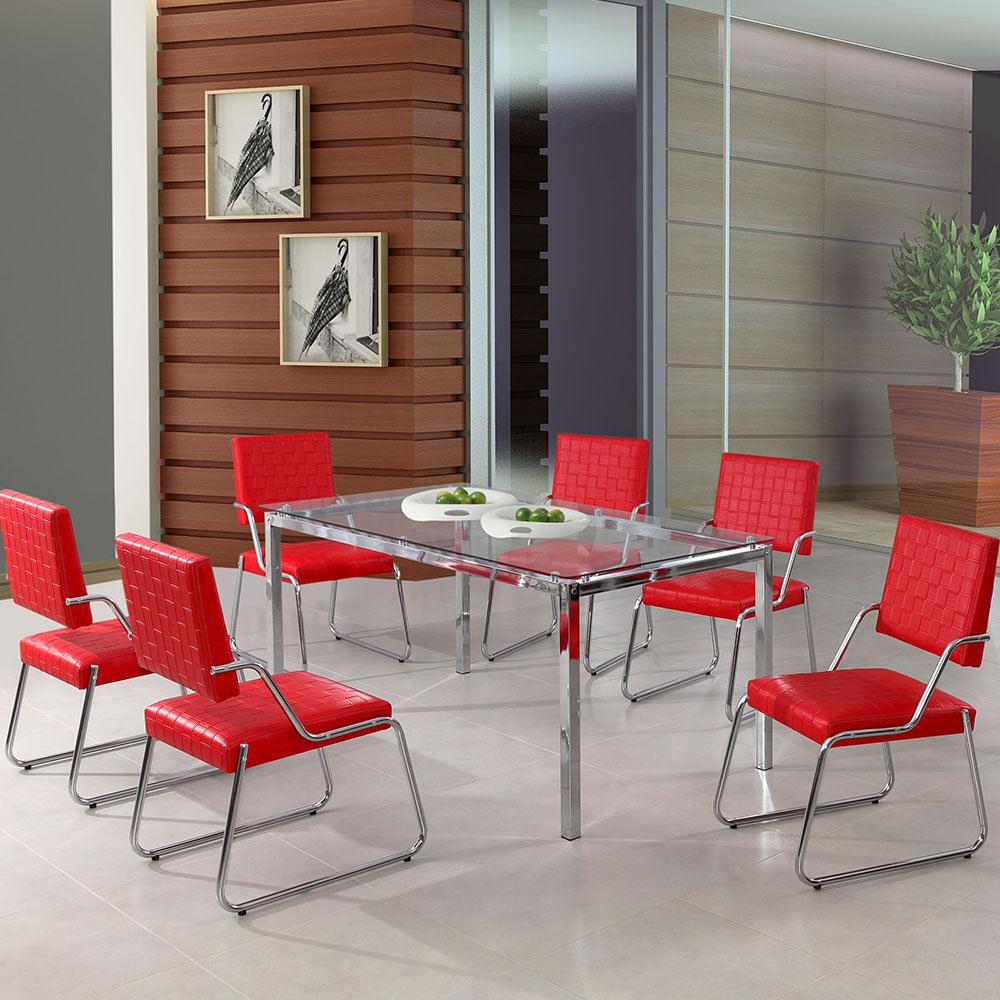 Mesa 6 Lugares P Rola 1 60m 6 Cadeiras 818 Vermelho Textura A503