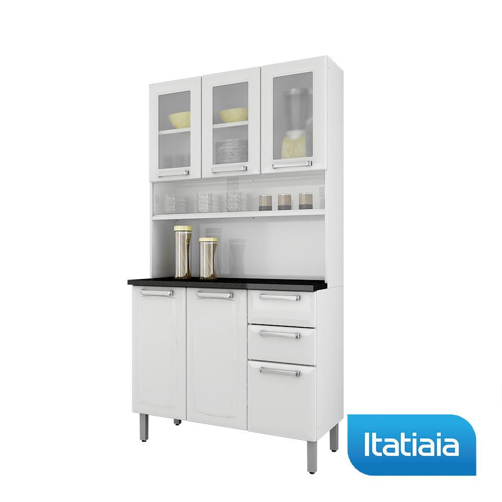 Cozinha Compacta Regina Largura 105 Cm Porta De Vidro Branco