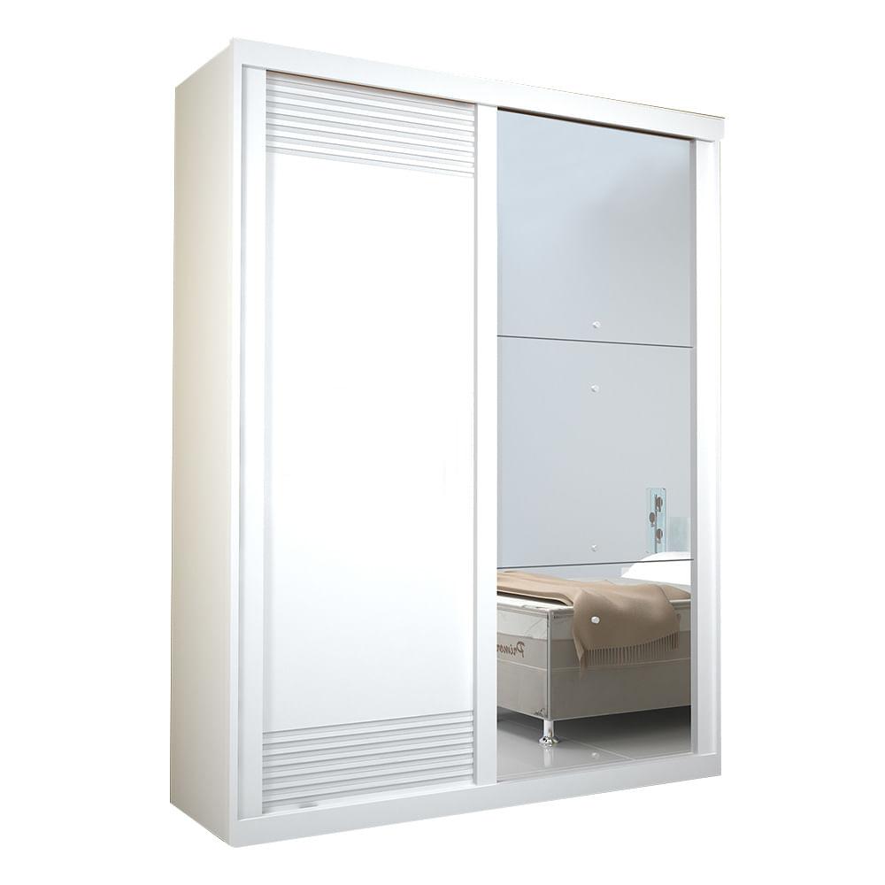 Guarda Roupa Onix Com Espelho 2 Portas 100 Mdf Branco