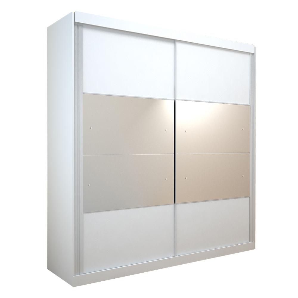 Guarda Roupa Delta Com Espelho 2 Portas 100 Mdf Branco