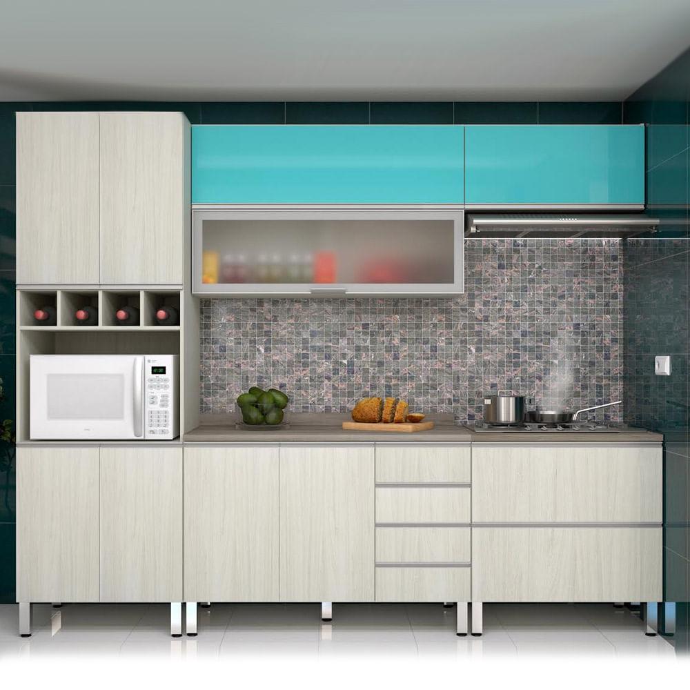 Cozinha Lis Completa 5 Pe As Legno Crema Com Aqua Laca Prime