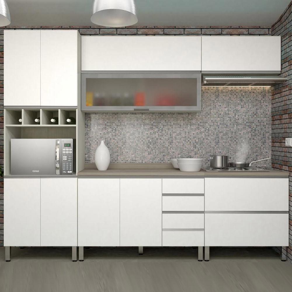 Cozinha Lis Completa 5 Pe As Legno Crema Com Branco Mat Prime