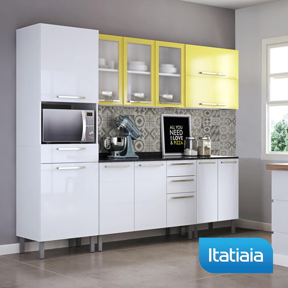 Cozinha Dandara Completa 5 Pe As Amarelo Com Branco A O
