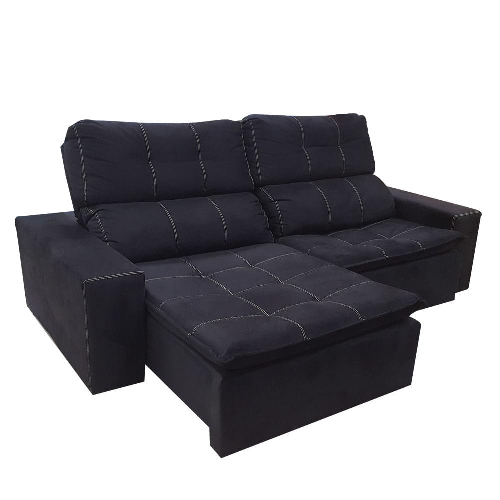 Sofa De Canto Preto Retratil E Reclinavel | Baci Living Room