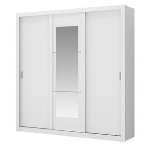 Guarda-Roupa-Elus-com-Espelho---3-portas---Branco-ou-Branco-com-Native