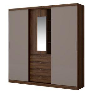Guarda-Roupa-Aries-com-Espelho---2-portas---Ebano-com-Atacama