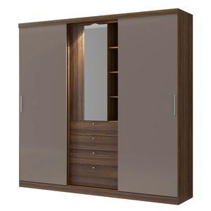 Guarda-Roupa-Zeus-com-Espelho---2-portas---Ebano-com-Atacama
