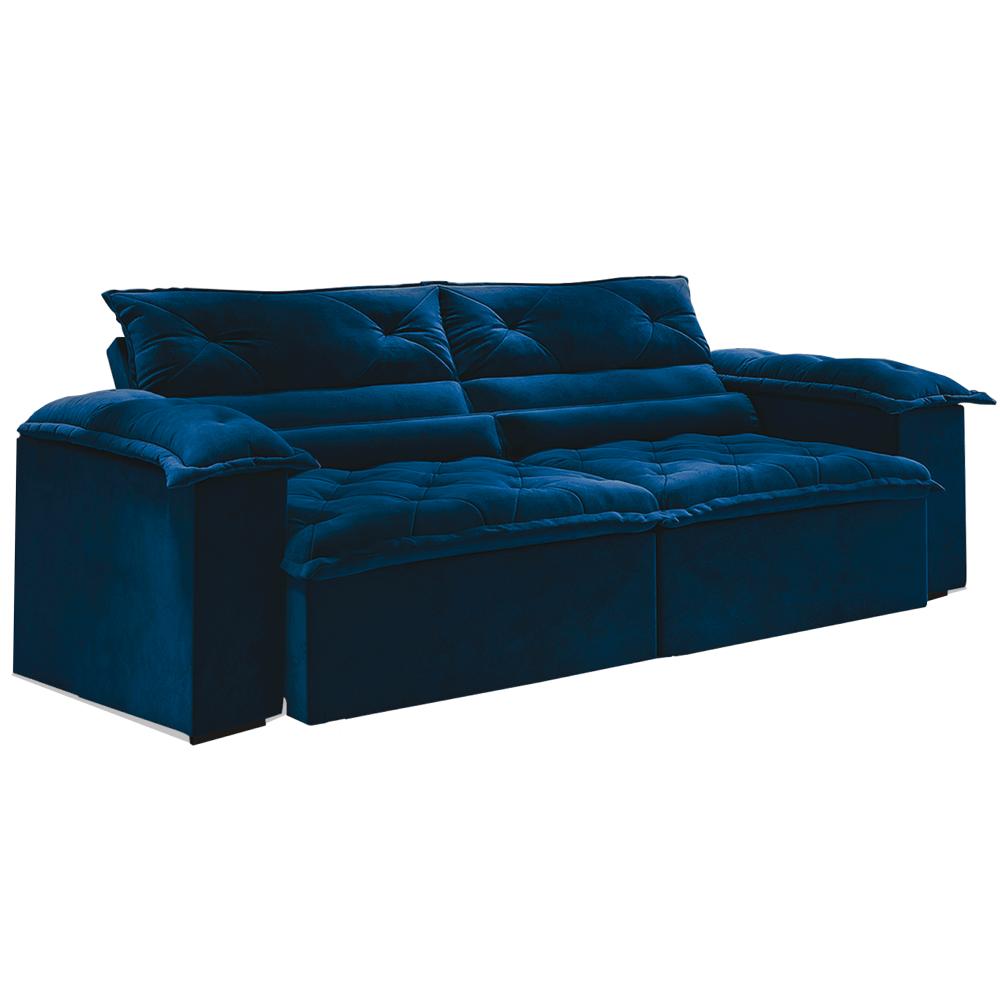 Sofá Vizeu - Retrátil e Reclinável - Azul Luxo - 250cm ...